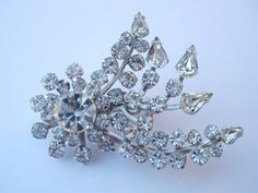 Vintage Silver  tone Metal Ice Clear by NATASHASDESIGNS on Etsy, $12.00