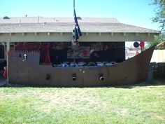 pirate party.. we made a cardboard pirate ship we painted the ship and used yard stakes and zip ties to hold the cardboard together. just add pvc pipes for cannons and pirate decor. it was a big hit
