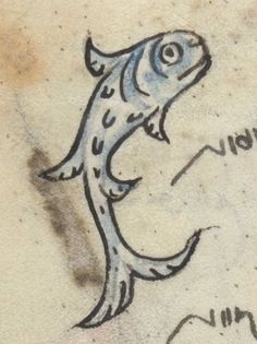 Cat in the Hat fish (before Dr. Seuss!) from the Hours of the Virgin, Add MS 36684, f. 27v, c. 1320