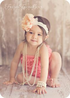 RESERVED Peony Perfection- Peony Flowered lace vintage inspired headband peach/ coral/ salmon babies and toddlers. $14.50, via Etsy. This is sooo cute.