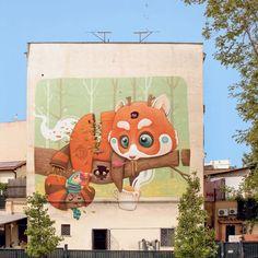 Dulk street art, animali fantastici e bizzarre amenità • Arte