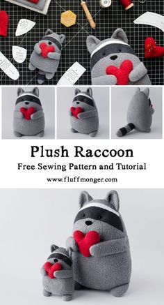 Free Raccoon Sewing Patterns and Tutorial from Fluffmong Kostenlose Waschbär Schnittmuster und Tutorial von Fluffmonger – Gefüllte Waschbär … – Diyprojectgardens.club Free Raccoon Sewing Patterns and Tutorial from Fluffmonger – Stuffed Raccoon … - Sewing Patterns Free, Free Sewing, Pattern Sewing, Free Pattern, Doorstop Pattern Free, Free Knitting, Softie Pattern, Fun Patterns, Animal Patterns