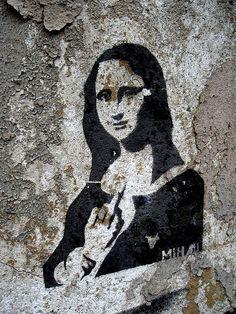 Mona Lisa graffiti  seen in Breslau / Wroclaw Schlesien / Poland