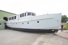 """Deck saloon """"New shell"""" Tuna Boat, Barges For Sale, Motor Cruiser, Canal Barge, Dutch Barge, Saloon, Deck, Floating House, Narrowboat"""