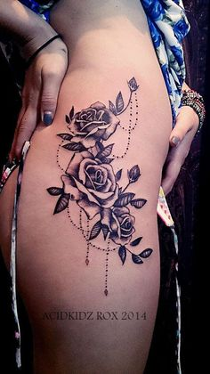 Taiwan, Kaohsiung | roxiehart666 | acidkidz tattoo | black and grey | thigh | vintage rose tattoo