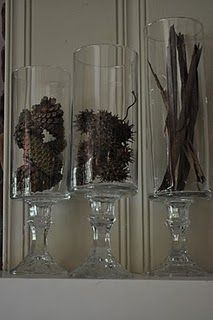 already made these... $ tree candle sticks and hurricane vases! simple & inexpensive!
