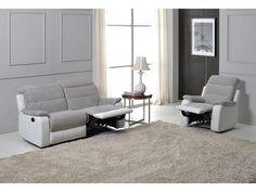 Canape relax manuel bicolore 3 pl LENNY coloris gris/blanc prix promo Canapé Conforama 599.00 € TTC au lieu de 999 €