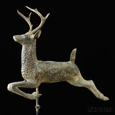 Molded Painted Copper Leaping Stag Weathervane, late 19th C.