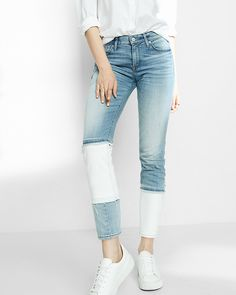 Express Mid Rise Pieced Stretch Super Skinny Ankle Jeans