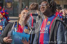 FC Barcelona young couple fans before a match