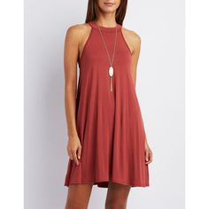 Charlotte Russe Mock Neck Shift Dress ($20) ❤ liked on Polyvore featuring dresses, cinnamon, sleeveless dress, no sleeve dress, charlotte russe dresses, shift dress and red dress