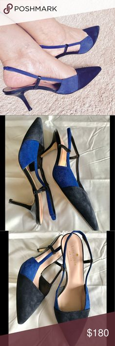 Kate Spade Jupiter sling backs KS suede sling backs. Navy and cobalt. Hardly worn. Ankle injury. Original box. Shoe bag. kate spade Shoes Heels