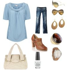 BLUE AND TAN, created by jenhaught.polyvore.com