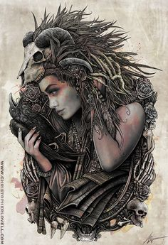 Keja, a gypsy 'drabarni', shaman, shape shifter, magick maker. Shunned by her people, she makes her home in the woods and the wilds, far from other folk, her only companions being the strange beasts and birds of the forests. - Ashura - o by Lovell-Art  #towardthewithin