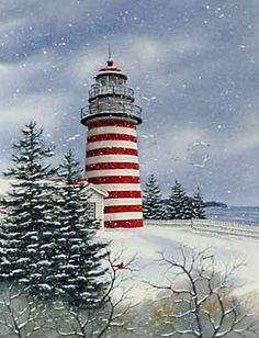 West Quoddy Head Light Lubec Maine US Looks like a Christmas card Lighthouse Lighting, Lighthouse Art, Maine Lighthouses, Lighthouse Pictures, Beacon Of Light, Nocturne, Winter Scenes, Belle Photo, Winter Wonderland