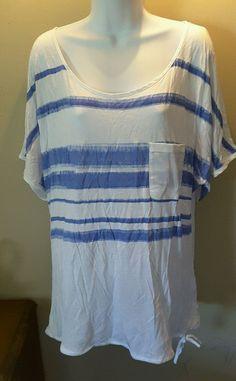 NWT CALVIN KLEIN women's XL white blue striped lightweight top 100% modal #CalvinKlein #KnitTop #Casual