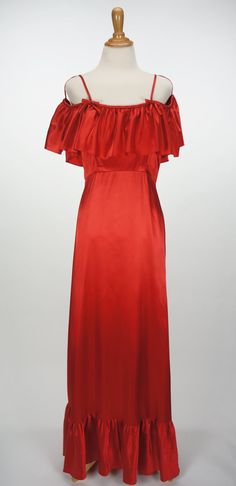 Vintage 1970s Red Ruffled Lorrie Deb Dress Size 9 by CeeLostInTime