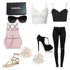 """""""Untitled #60"""" by brezzy502 ❤ liked on Polyvore featuring Cara, Topshop, J Brand, Christian Louboutin, Valentino, Dolce&Gabbana and Chanel"""