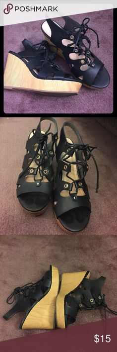 Excellent xoxo wedge wood and black heels💖 Xoxo heels! Excellent condition! Black tops, wood bottom! Hardly used! Very comfortable and stable! XOXO Shoes Wedges