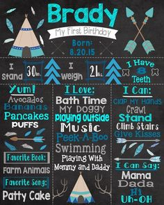 Boy's tribal first birthday chalkboard teepee aztec by InJOYPrints