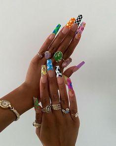 Drip Nails, Bling Acrylic Nails, Simple Acrylic Nails, Square Acrylic Nails, Best Acrylic Nails, Gel Nails, Nail Polish, Colored Acrylic Nails, Coffin Nails