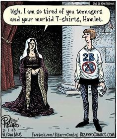 "I loved this meme. Even though we did not discuss Hamlet in class, I believe that everyone could relate to and find this pin relatively funny.in this, Hamlet weighs the benefits of life (""to be"") and death (""not to be""). I found this funny because they put a modern day twist on an important soliloquy. I would buy this shirt! -Elyss Super"
