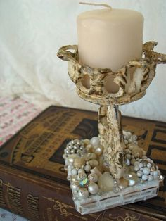 Vintage Cottage Beach Chic Candle Holder Covered in Vintage Jewelery