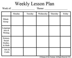 Blank Preschool Weekly Lesson Plan Template    My Printable