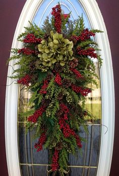 "Gorgeous!!! Christmas Wreath Winter Wreath Holiday Vertical Teardrop Swag Door Decor..""Seasons Greetings"" Green w/ Green. 85.00, via Etsy. b..."