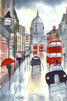 Art: Rainy Day London~Fleet Street Afternoon by Artist KJ Carr