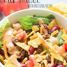 Taco Salad Recipe Salads with salad, ground beef, taco seasoning, lettuce, tomatoes, green onions, kidney beans, shredded cheese, tortilla chips, dressing, thousand island dressing, Kraft Miracle Whip Dressing, taco sauce