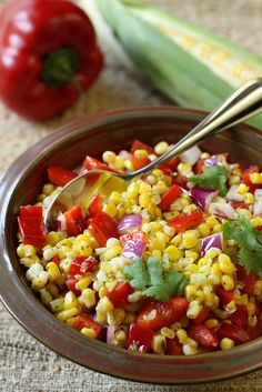 Red Bell Pepper and Sauteed Corn Salad with Cilantro Dressing.The perfect summer side dish. Goes great with any barbecue main.