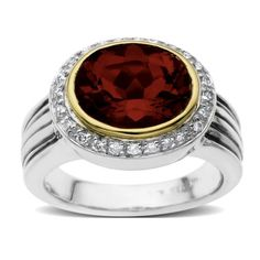 S Sterling Silver and 14k Yellow Gold Oval Garnet with Diamond-Accent Ring