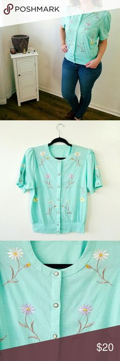 Mint Embroidered Vardigan Vintage lightweight button up with flower embroidery and faux pearl buttons. Some signs of aging and wear, few spots of discoloration however does not affect wear. Fits like a woman's size size 6.   #vintage #truevintage #80's #shoulderpads #floral #embroidery #embroidered #pastel #pearl #mint #cute #kawaii Vintage  Sweaters Cardigans