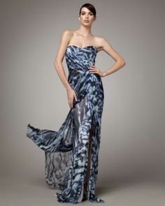 Printed Silk Gown by Monique Lhuillier at Neiman Marcus. Strapless Dress Formal, Formal Dresses, Women's Evening Dresses, Silk Gown, Luxury Dress, Designer Gowns, Dresses For Sale, Ball Gowns, Printed Silk