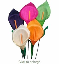 Corn Husk Calla Lily Assorted Colors - Bouquet of 6