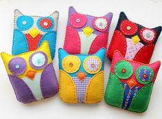 Eco Felt & Fabric Plush Owl Toys Softies  by lova revolutionary, via Flickr