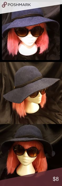 Navy Wool Floppy Fashion Hat Navy blue wool fashion hat, floppy and foldable, 100% would, fits medium to large size head, non-smoking home Accessories Hats