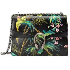 Gucci Dionysus Medium Tropical-Print Shoulder Bag (36.564.755 IDR) ❤ liked on Polyvore featuring bags, handbags, shoulder bags, black multi, gucci shoulder bag, gucci purses, shoulder bag purse, shoulder handbags and flap purse