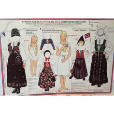 Lina & Synnove, paper dolls no. 10 with Norwegian National Costumes from Oppland, Buskerud, Sogn og Fjordane, and Nordfjord