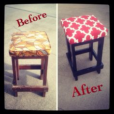 Redone some old bar stools #newpaint&newfabric#