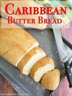 A simple popular Caribbean butter bread loaf recipe where the bread is rolled up with butter. Perfect to eat alone or create the perfect sandwich. Loaf Recipes, Easy Bread Recipes, Dessert Recipes, Cooking Recipes, Quick Bread, Caribbean Butter Bread Recipe, Trinidad Recipes, Trinidad Coconut Bake Recipe, Eating Alone