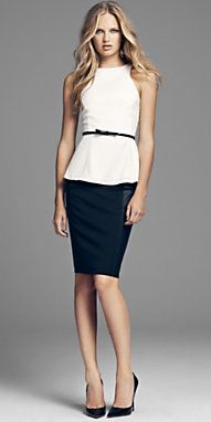 peplum + belt Easy transition from business to evening wear. Simple yet sophisticated.