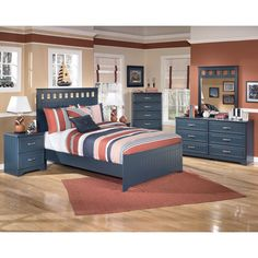 Give your kids room a more contemporary look with the Leo panel bed. With its rich blue paint and mix of modern and traditional design your child will relax easy while enjoying the style it adds to their room.