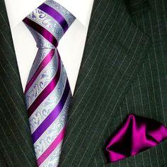 Amazon.com: Lorenzo Cana Luxury Italian Pure Silk Business Tie Hanky Set Silver Purple Stripes Necktie 8443301: Clothing $119 for set
