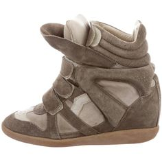 Pre-owned Isabel Marant Beckett High-Top Sneakers ($145) ❤ liked on Polyvore featuring shoes, sneakers, grey, hi top velcro sneakers, suede high top sneakers, suede shoes, high top shoes and gray suede sneakers