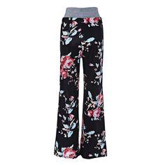 3b66d8fcd2b66 Women s High Waist Floral Print Palazzo Harem Pants Size S-XL