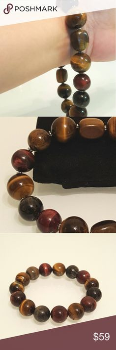 The biggset unisex Tigers eye bracelet Handmade.materials:Beaded with strong durable silky cord, Tigers eye, Sterling Silver mini spacers. This is a stretchy bracelet. Jewelry Bracelets
