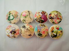 Set of 8 beautiful Alice in Wonderland print wood drawer knobs. These wood knobs are wide and have been painted white with a decoupage Alice in Wonderland pattern. Sealed with a triple coat gloss f Alice In Wonderland Bedroom, Alice In Wonderland Crafts, Alice In Wonderland Print, Cabinet Knobs, Drawer Knobs, Drawer Pulls, Door Knobs, Girl Room, Baby Room