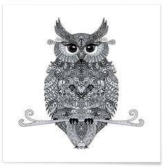 Mojo Owl as Premium Poster by Monika Strigel | JUNIQE